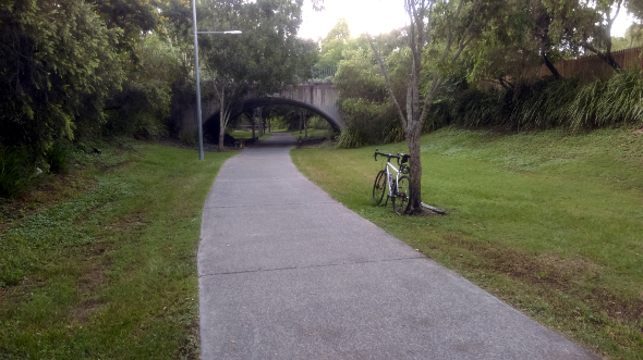 Cycling to Gallery of Modern Art Kedron Brook bikeway Brisbane Queensland