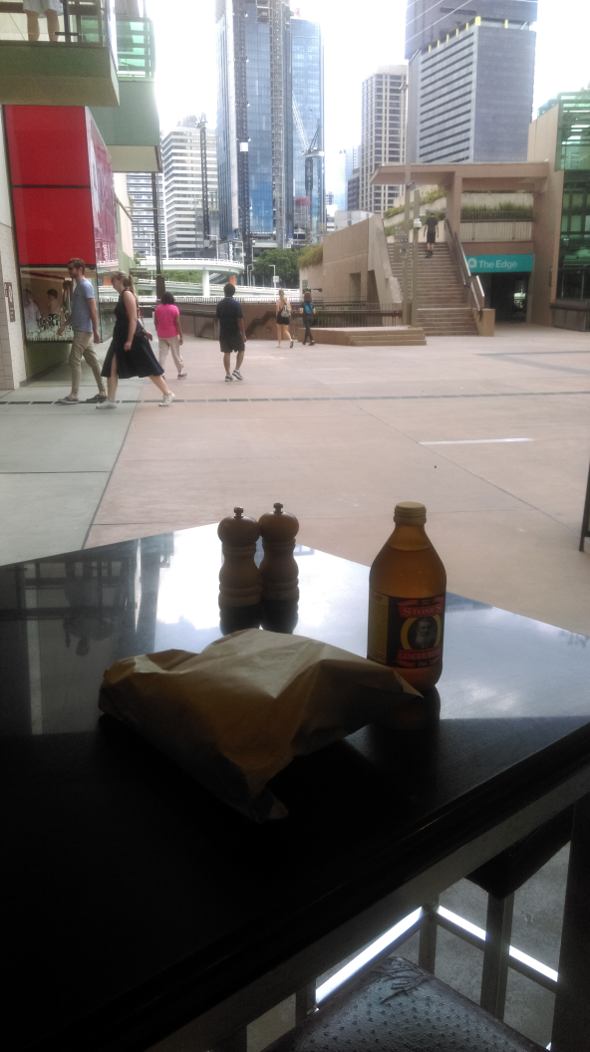 Food stop on bicycle trip to Yayoi Kusama exhibition GOMA Brisbane