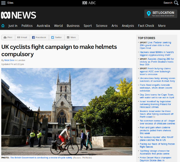 UK cyclists fight campaign to make helmets compulsory - ABC Australia