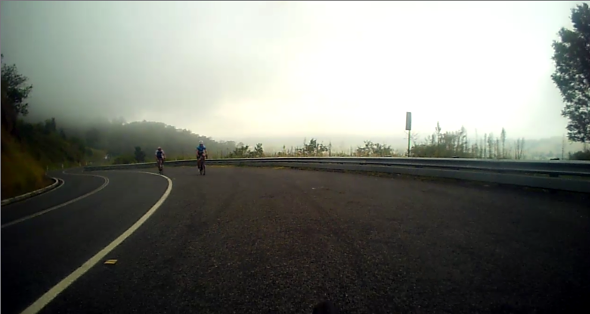 Mt Mee in the fog on road bikes