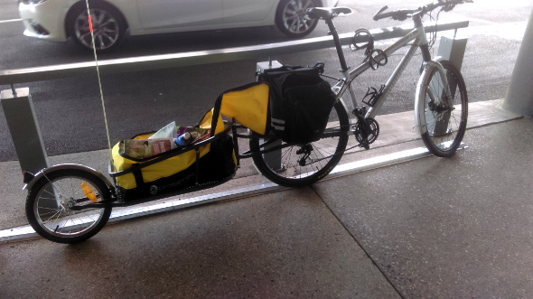 Shopping bicycle with trailer
