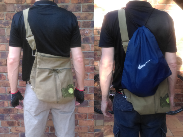 Drawstring backpacks add carrying capacity when you ride