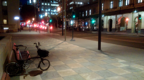 Brompton bike on Ann St Brisbane