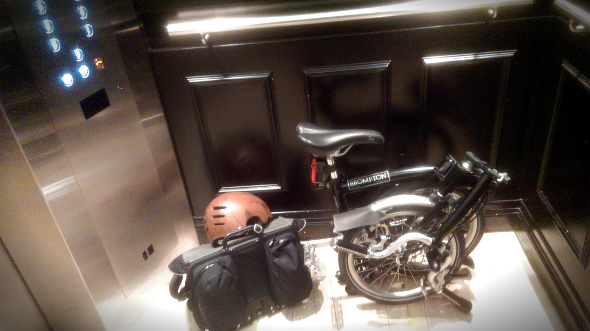 Folding bike in an elevator