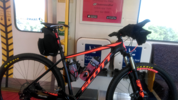 Mountain bike on a Queensland Railways train