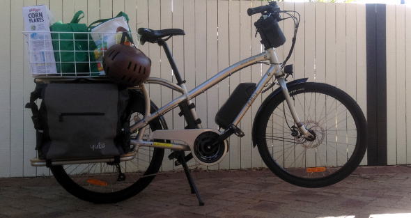 Carrying a lot of groceries on the Yuba Boda Boda cargo bike