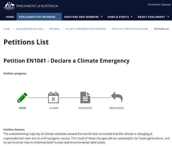 Australian Parliament climate emergency petition