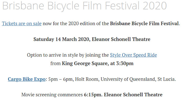 Brisbane Bicycle Film Festival 2020