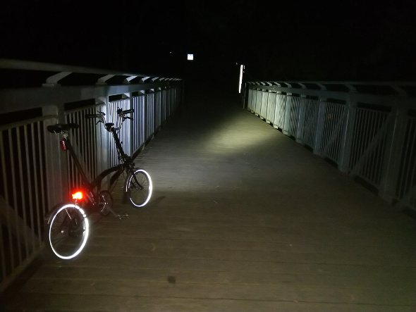 Brompton folding bike night ride