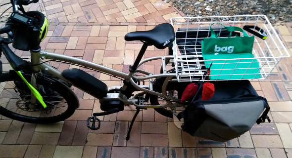 Yuba cargo bike with shopping bag