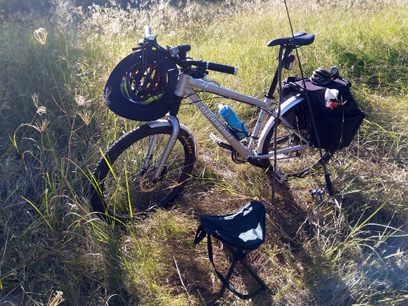 Mountain bike fishing trip long grass