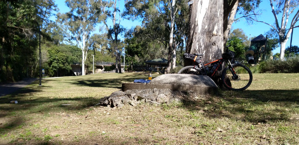 Mountain biking lunch break at The Gap Brisbane