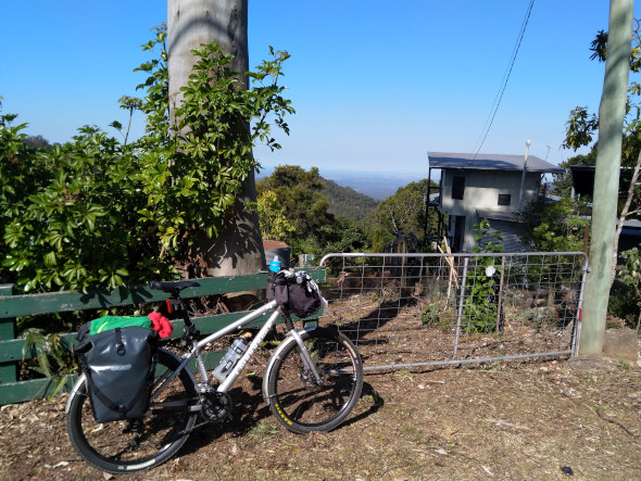 Bikepacking top of Mt Glorious looking east