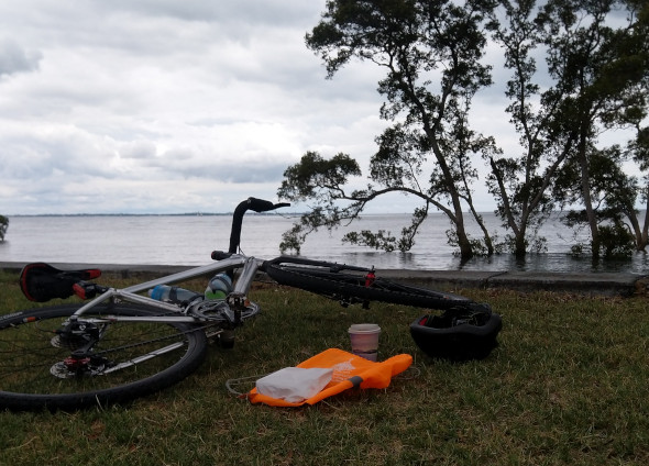 Lunch on the grass at Nudgee Beach