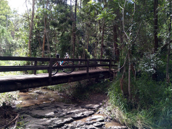 Mountain bike Ferny Grove creek bridge