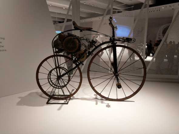 Early adaptation of the bicycle with a motor